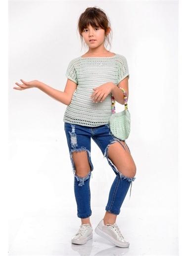 Hilal Akıncı Kids Kiz Çocuk Yazlik Trıko Bluz Yirtik Kot Pantolon Trıko Çanta Üçlü Takim Yeşil